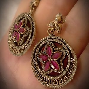 RUBY FINE ART DANGLE POST EARRINGS Solid 925/Gold
